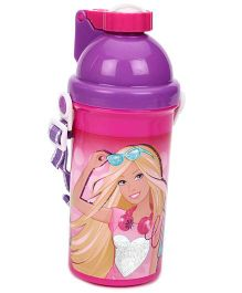 Barbie Eco Push Button Bottle 450 Ml - Pink And Purple