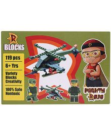 Mighty Raju R Blocks Military Helicopter Olive Green - 119 Pieces