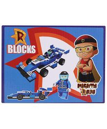 Mighty Raju R Blocks Racing Car Blue - 106 Pieces