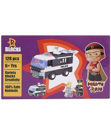 Mighty Raju R Blocks Police Van Black And White - 123 Pieces