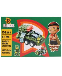 Mighty Raju R Blocks Tank Olive Green - 158 Pieces