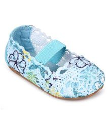 Doink Slip On Belly Shoes Floral Design - Blue
