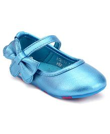Doink Ballerina Shoes Velcro Closure Bow Applique - Blue