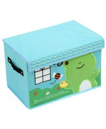 Foldable Storage Box With Cover Frog Patch - Aqua Blue
