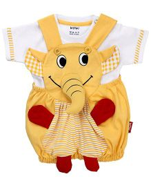 Wow Dungaree With T-Shirt Elephant Design - Yellow