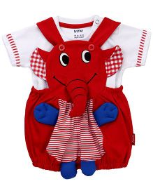Wow Dungaree With T-Shirt Elephant Design - Red
