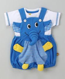Wow Dungaree With T-Shirt Elephant Design - Dark Blue