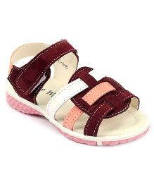 Cute Walk Sandals With Velcro Strap - Purplish Maroon