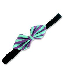 ATUN Cool Striped Tribal Bow Headband - Green and Purple