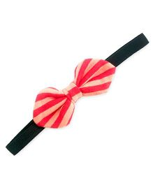 ATUN Stripe Print Tribal Bow Headband - Peach And Red