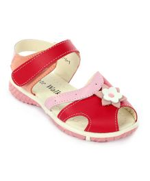 Cute Walk Velcro Sandals Flower Applique -  Red