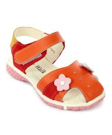 Cute Walk Sandals Velcro Closure Flower Applique - Orange
