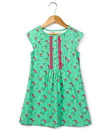 Beebay Short Sleeves Jersey Dress Rose Print - Green