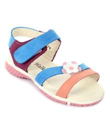 Cute Walk Velcro Sandals Flower Applique - Blue And Purple