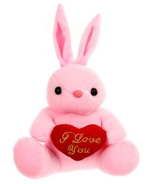 Tickles Bunny With Heart Soft Toy Pink - Height 19 cm