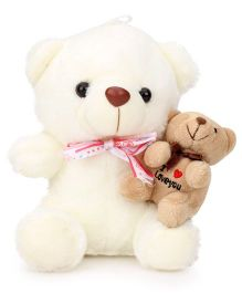 Tickles Teddy Bear With Brother In Lap - Off White And Brown
