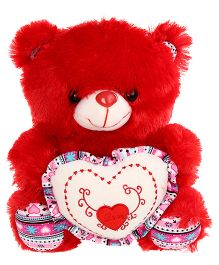 Tickles Teddy With Heart Soft Toy Red - Height 23 cm