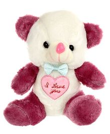 Tickles Teddy Soft Toy Burgundy And White - Height 18 cm