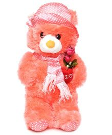 Tickles Teddy Bear With Rose Applique Coral - 28 cm
