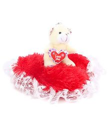 Tickles Teddy Bear Key Chain With Heart - Cream And Red