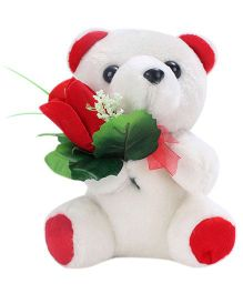 Tickles Teddy Bear With Rose Applique White And Red - 8 cm