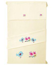 Baby Rap 2 Crib Sheet And Pillow Case Set Bird Embroidery - Lemon Yellow