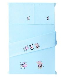 Baby Rap 2 Crib Sheet And Pillow Case Set Cow Embroidery - Blue