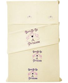 Baby Rap 2 Crib Sheet And Pillow Case Set Princess Embroidery - Lemon Yellow