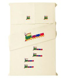 Baby Rap 2 Crib Sheet And Pillow Case Set Train Embroidery - Lemon Yellow