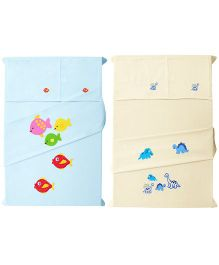 Baby Rap 4 Crib Sheet And Pillow Case Set Embroidered - Baby Blue And Lemon