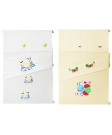 Baby Rap 4 Crib Sheet And Pillow Case Set Embroidered - White And Lemon