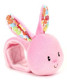1st Step Wrist Rattle Bunny Face - Pink