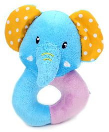 1st Step Soft Ring Rattle Elephant Face - Blue