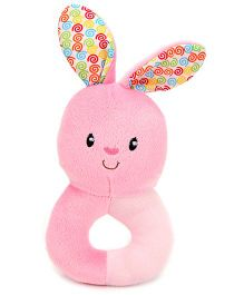 1st Step Soft Ring Rattle Rabbit Face - Pink
