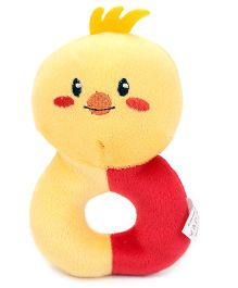 1st Step Soft Ring Rattle Baby Bird Face - Yellow