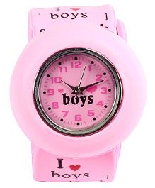 Slap Style Watch Heart Print - Pink