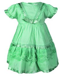 ShopperTree Cotton Frock with Cambric Lace - Green