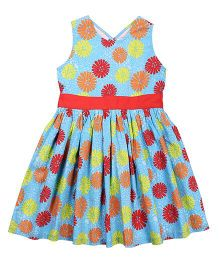 ShopperTree Sleeveless Cotton Frock With Floral Print - Multicolor
