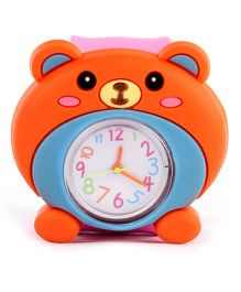 Slap Style Analog Watch Bear Design - Orange And Pink