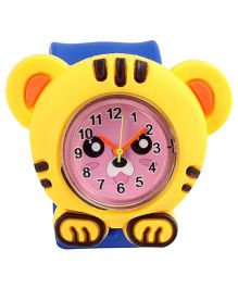 Slap Style Analog Watch Tiger Design - Yellow And Blue