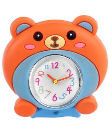 Slap Style Analog Watch Bear Design - Blue And Orange