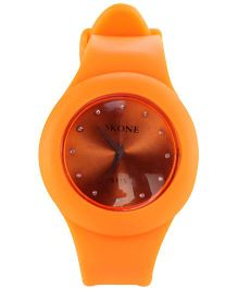 Analog Wrist Watch Round Dial - Orange