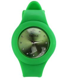 Analog Wrist Watch Round Dial - Green