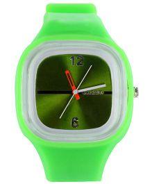 Analog Wrist Watch Square Shape Dial - Green