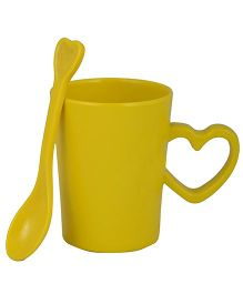 L'Orange Cup With Heart Handle And Spoon - Yellow