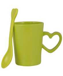 L'Orange Cup With Heart Handle And Spoon - Green