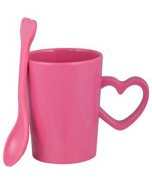L'Orange Cup With Heart Handle And Spoon - Pink