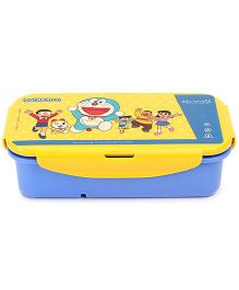 Doraemon Lunch Box With Clip Lock - Blue And Yellow