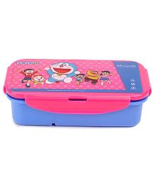Doraemon Lunch Box With Clip Lock - Blue And Pink