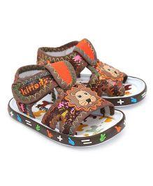 Kittens Casual Sandals Velcro Closure Lion Applique - Brown